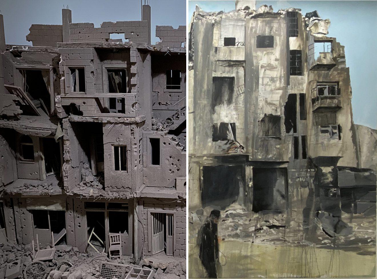 Les murs dévastés : selon Khaled Dawwa et Brian Maguire